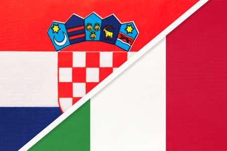 Croatia and Italy, symbol of country. Croatian vs Italian national flags.