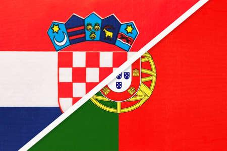 Croatia and Portugal, symbol of country. Croatian vs Portuguese national flags. Archivio Fotografico