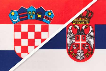 Croatia and Serbia, symbol of country. Croatian vs Serbian national flags. Archivio Fotografico