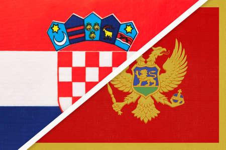 Croatia and Montenegro, symbol of country. Croatian vs Montenegrin national flags. Archivio Fotografico
