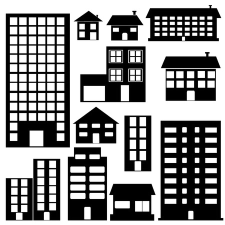 buildings set icons Vector