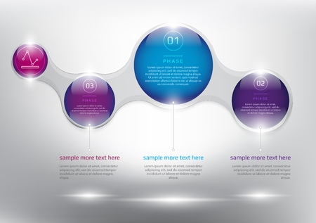 infographic template for 3 options. Modern design style infographic template for 3 options. Designed with realistic transparent glass shine and shadow on the white background. Vector illustration.