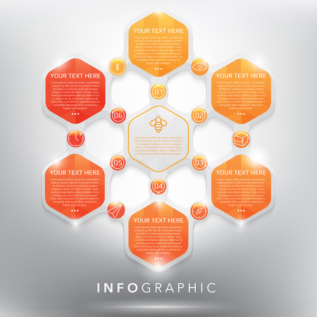 six web website: Infographic template for 6 options. Modern design style infographic template for 6 options. Designed with realistic transparent glass shine and shadow on the white background. Vector illustration. Eps10. Illustration