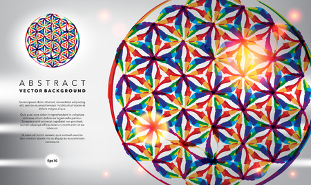 Abstract background. Flower of life. Glossy and colorful on the white panel. Use for template, brochure design.