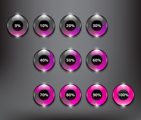 indicator panel: Progress indicator percentage set. Completion, charging, loading or level concepts. Colorful and transparent on the white panel. Illustration