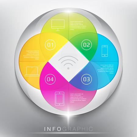 Infographicmalplaatje modern ontwerpstijl voor 4 opties. Ontworpen met realistische transparante glasglans en schaduw op de witte achtergrond. illustratie. Eps 10. Stockfoto - 67462282