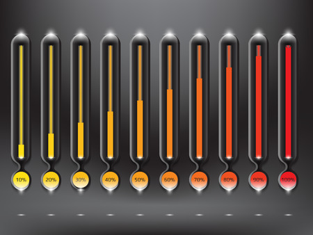 Collection of 10 modernly designed preloaders or progress loading bars in different loading state and percentage. Illustration. Eps10.