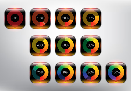 Loading spinners or progress loading bars in different loading state and percentage. Designed with realistic transparent glass shine and shadow on the white background. Vectores