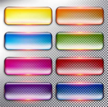 Abstract vector web buttons set of 8. Isolated with realistic, transparent glass shine and shadow on the light background. Vector illustration. Eps10.