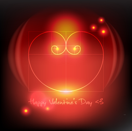 Abstract background. Design elements for Valentine's Day cards. Heart of two Fibonacci Spiral. Glossy and isolated with realistic light and shadow on the dark panel. Vector illustration. Eps10.