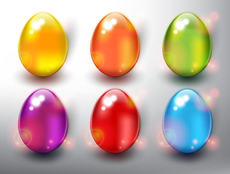 Set of 6 color Easter Eggs. Design elements for holiday cards. Easter collection. Colorful, glossy and isolated with realistic light and shadow on the light panel. Vector illustration. Eps10.
