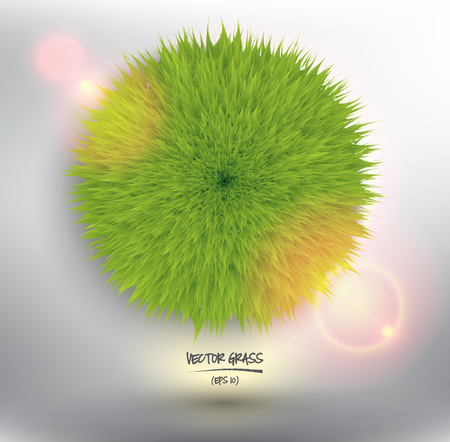 Abstract vector web banner. Green grass sphere. Isolated with realistic light and shadow on the light panel vector illustration.