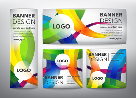 Collection of 4 web banners in colorful, linear design. Isolated on the light panel. Each item contains space for own text vector illustration. Ilustração