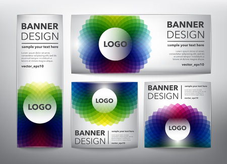Set of 4 web banners in colorful, circular floral design. Isolated on the white background. Each item contains space for own text vector illustration. Ilustração