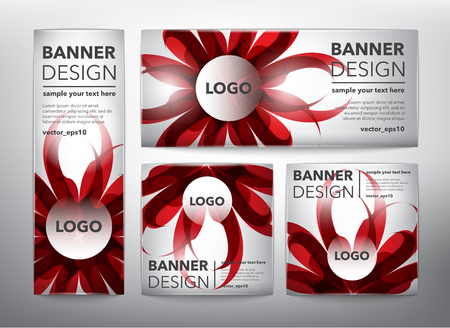 Collection of 4 web banners in red floral design. Isolated on the white background. Each item contains space for own text.