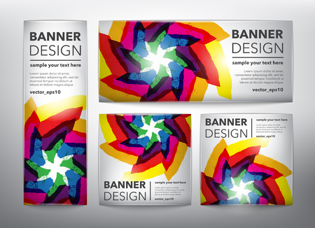 Collection of 4 web banners in colorful floral design. Isolated on the light panel. Each item contains space for own text vector illustration.