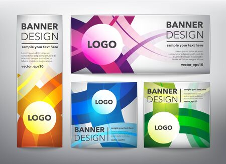 Collection of 4 web banners in colorful wavy lines. Isolated on the light panel. Each item contains space for own text vector illustration. Ilustração