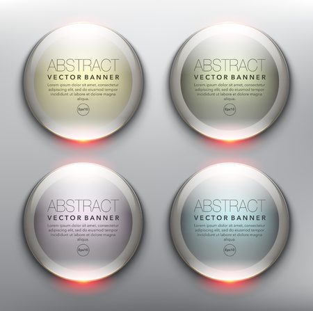 Vector glass web banners set of 4. Round glossy banners in pastel colors. Isolated with realistic light and shadow on the light panel. Each item contains space for own text vector illustration.