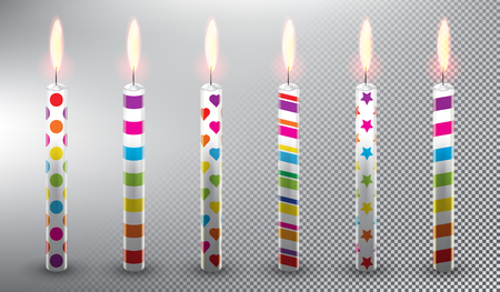 Collection of 6 vector candles. Birthday cake candles. Realistic and isolated with transparent burning flame and shadow on the white background vector illustration. Ilustração