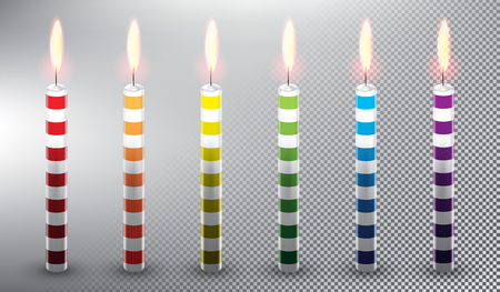 Collection of 6 vector candles with stripes. Birthday cake candles. Realistic and isolated with transparent burning flame and shadow on the white background vector illustration.