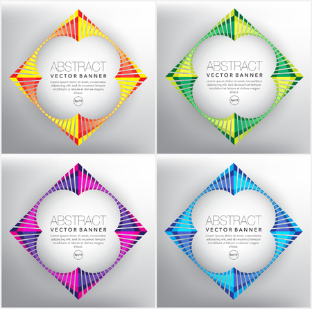 Abstract vector web banner set of 4. Geometric banners in bright colors. Isolated on the light background. Each item contains space for own text vector illustration. Ilustração
