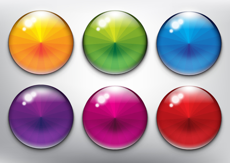 Abstract vector web buttons set of 6. Isolated with realistic, transparent glass shine and shadow on the light background vector illustration.