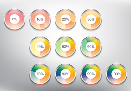 Loading spinners or progress loading bars in different loading state and percentage. Designed with realistic transparent glass shine and shadow on light background. Vector illustration.