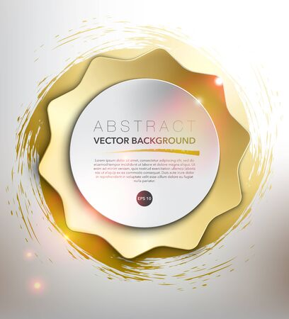 Abstract vector background. Round paper circle on the golden star and hand-drawn swirl. Item contains space for own text. Isolated on the white background. Vector illustration. Eps10. Ilustração