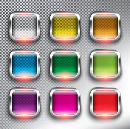 Abstract square web buttons set of 9. Square glass web icons with silver frame. Isolated with realistic, transparent glass shine and shadow on the white background. Vector illustration. Eps 10. Ilustração