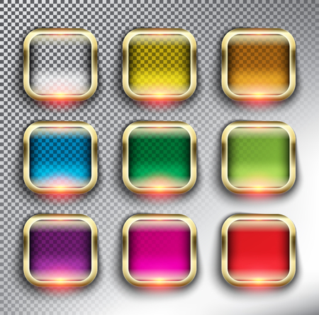 Abstract square web buttons set of 9. Square glass web icons with golden frame. Isolated with realistic, transparent glass shine and shadow on the white background. Vector illustration. Eps10.