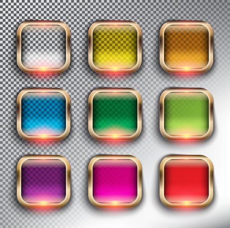 Abstract square web buttons set of 9. Square glass web icons with bronze frame. Isolated with realistic, transparent glass shine and shadow on the dark background. Vector illustration. Eps10.
