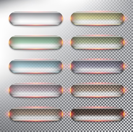 Abstract vector web buttons set of 10. Glass web buttons in pastel colors. Isolated with realistic, transparent glass shine and shadow on the light background. Vector illustration.