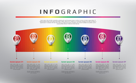 Horizontal rainbow timeline info graphic. 7 parts concept. Can be used for workflow layout, banner, number options, step up options, diagram, web design. Vector illustration. Eps10. Ilustração