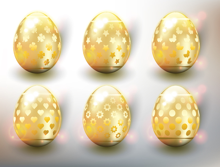 Set of 6 golden Easter Eggs. Design elements for holiday cards. Easter collection. Colorful, glossy and isolated with realistic light and shadow on the light panel. Vector illustration. Eps10.