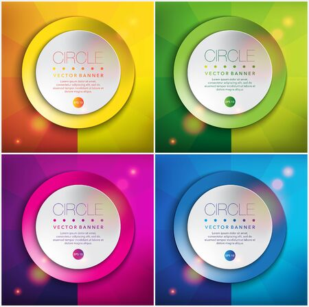 Abstract vector backgrounds set of 4. Round paper notes on the colorful, circular background. Ilustração