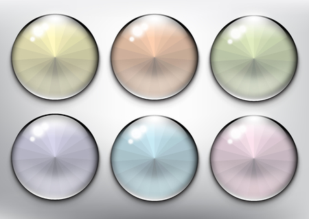 Abstract vector web buttons set of 6. Isolated with realistic, transparent glass shine and shadow on the light background. Vector illustration. Eps10. Ilustração