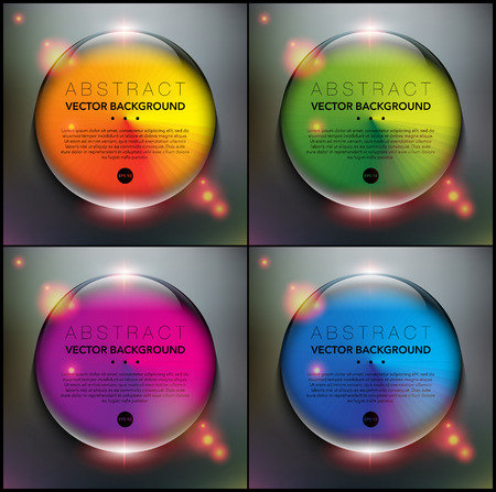 Abstract backgrounds set of 4. Glass marbles with circular design. Glossy, colorful and isolated on the black panel. Each item contains space for own text. Vector illustration. Eps10.