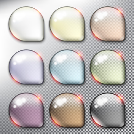 Abstract vector web buttons set of 9. Isolated with realistic, transparent glass shine and shadow on the light background. Vector illustration.