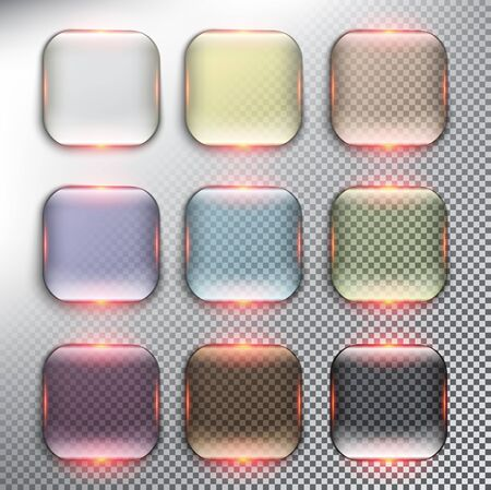 Abstract vector web buttons set of 9. Isolated with realistic, transparent glass shine and shadow on the light background. Ilustração