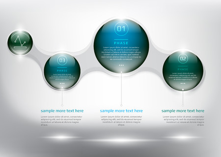 Abstract info graphic with circle elements. Glossy and transparent on the white panel. Use for business concept. Ilustração