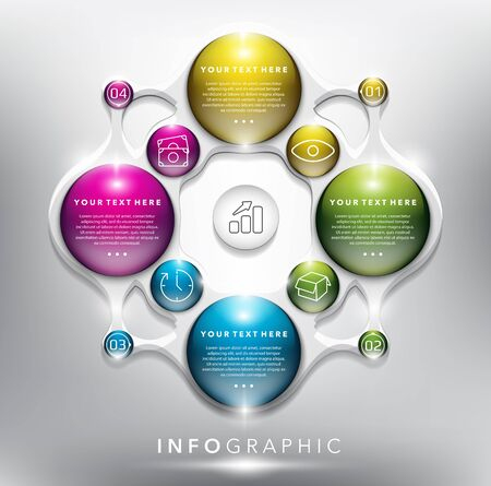 Abstract info graphic with circle elements. Glossy and transparent on the white panel. Use for business concept. 4 parts concept. Ilustração