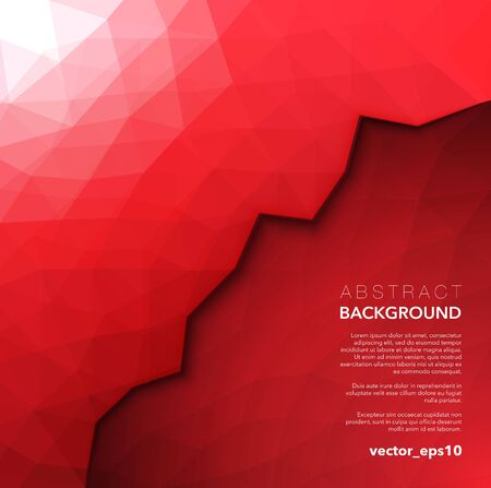 Abstract vector low poly background. Red geometric polygonal background. Use for wallpaper, banner, template or brochure design. Vector illustration. Eps10.