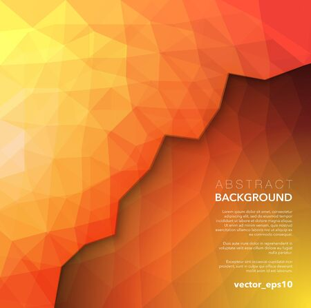 Abstract vector polygonal background. Orange geometric low poly background. Use for wallpaper, banner, template or brochure cover design. Vector illustration.