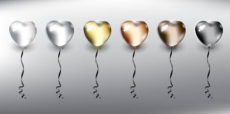 Set of 6 metallic helium balloons in form of hearts. Inflatable air flying balloons. Isolated with realistic, transparent glass shine and shadow on the light background. Vector illustration. Eps10.