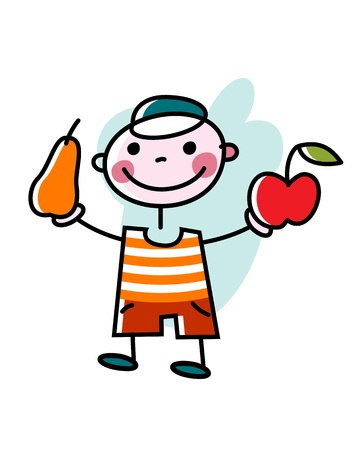 Ein lächelnder Junge bietet einen Apfel und eine Birne an.