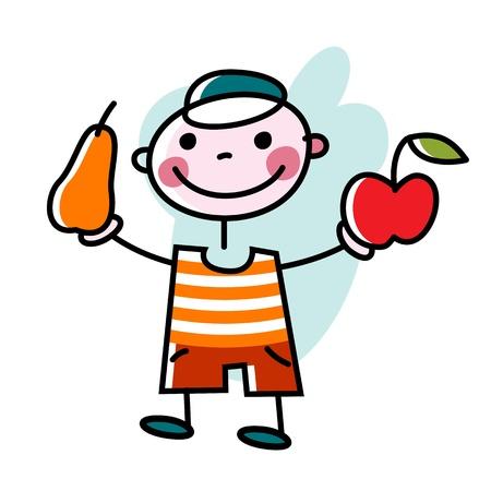 eating food: ragazzo sorridente offre mela e pera