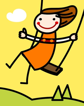 joyful: Girl on a swing