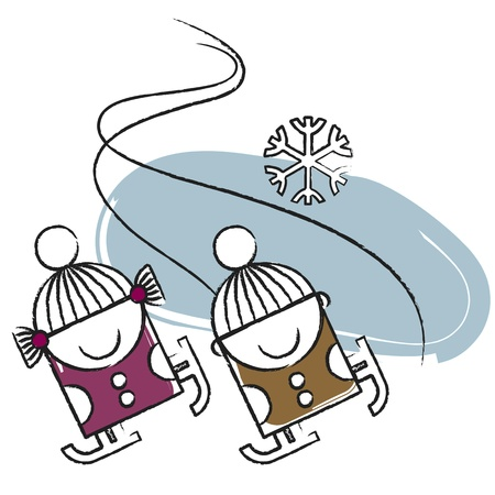 Ice skating kids  Vector