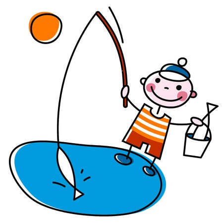 children pond: Fisherman