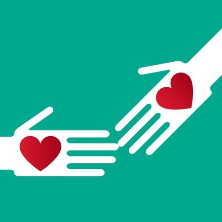 solidaridad: Silueta de la mano para ayudar ápice corazones Vectores